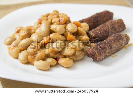 Homemade White Beans Stew with vegetarian sausage