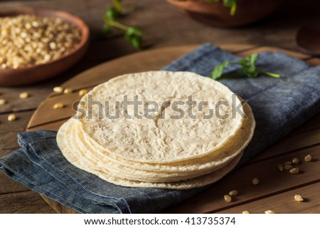 Homemade White Corn Tortillas in a Stack - stock photo