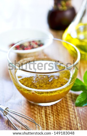Homemade Whole grain mustard vinaigrette by fresh ingredients - stock photo