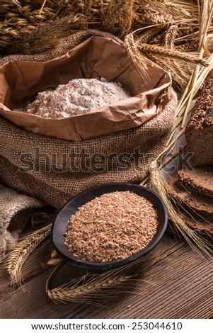 homemade whole wheat bread - stock photo