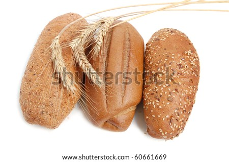 Homemade whole wheat bread on a white background