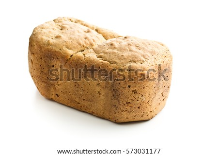 Homemade wholemeal bread isolated on white background.