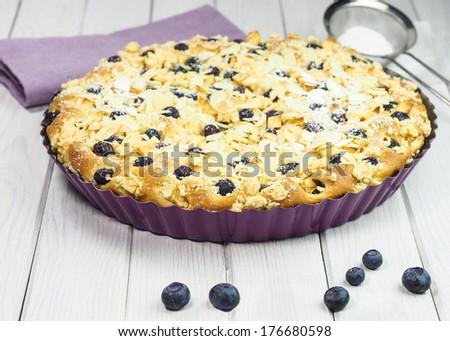 Homemade yeast cake with blueberries - stock photo