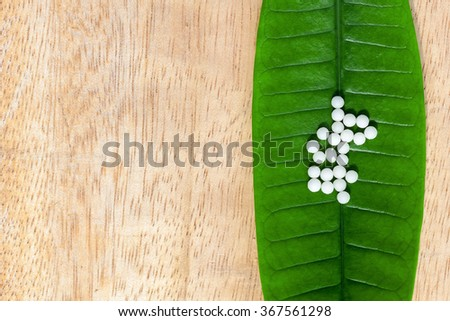 homeopathic pills on green leaves - stock photo