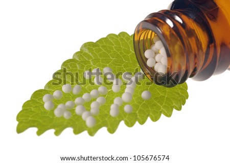 homeopathy with globules - stock photo
