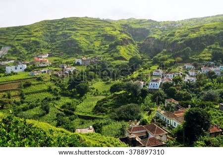 Homes and farm field in the city of Nova Sintra, a city built inside an extinct volcano crater on the island of Brava, Cabo Verde