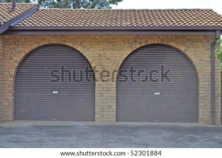 Homes garage for two cars - stock photo