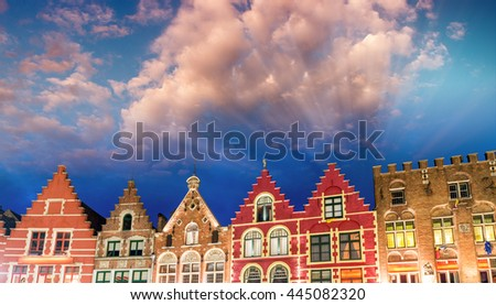 Homes of Brugge. Bruges skyline, Belgium. - stock photo