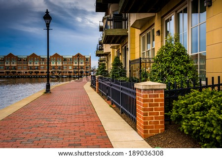 Homes on the waterfront in Fells Point, Baltimore, Maryland. - stock photo