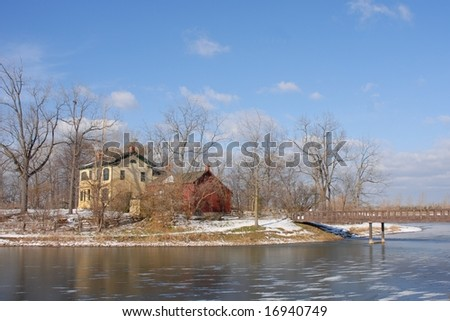 Homestead at the lake, Winter scene