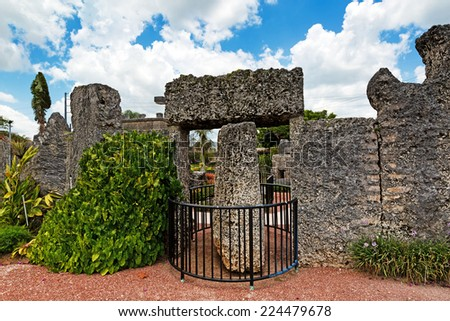 HOMESTEAD,FL-23JUNE 2014:Coral Castle to the North of the city of HOMESTEAD, Florida in June 2014. Is a stone structure created by an eccentric Latvian emigrant in the United States Edward Leedskalnin - stock photo