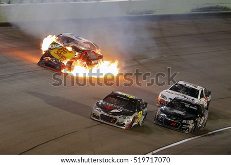 Homestead, FL - Nov 20, 2016: Martin Truex Jr. (78), Brad Keselowski (2) and Carl Edwards (19) wreck the Ford EcoBoost 400 at the Homestead-Miami Speedway in Homestead, FL.
