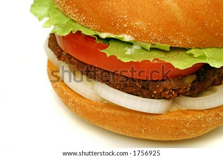homestyle beef burger with onion rings, tomato and lettuce close up - stock photo