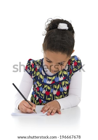 Homework Young Girl Isolated on White Background