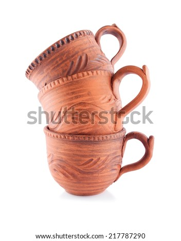 Homey Ceramic Cups, Isolated on White - stock photo