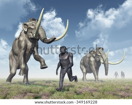 Homo Habilis and Mammoths Computer generated 3D illustration - stock photo