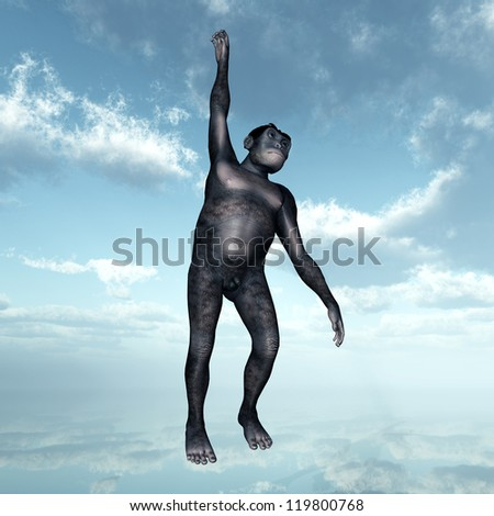 Homo Habilis - Human Evolution Computer generated 3D illustration - stock photo