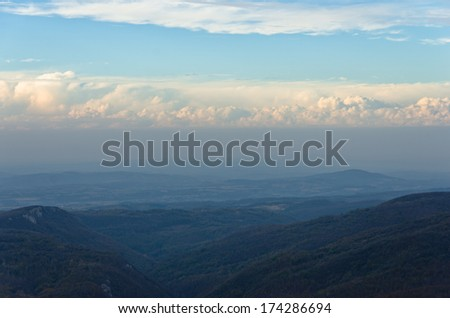 Homolje mountains landscape on a sunny autumn day with a few clouds, east Serbia - stock photo