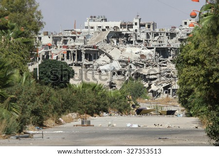 Homs, Syria, September 2013. Destroyed a residential area in the city of Homs injured in fighting between rebels of the Syrian National Army