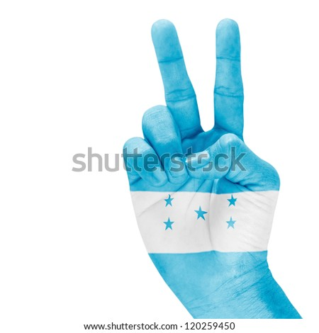 Hondoras flag on victory hand with a white background. - stock photo