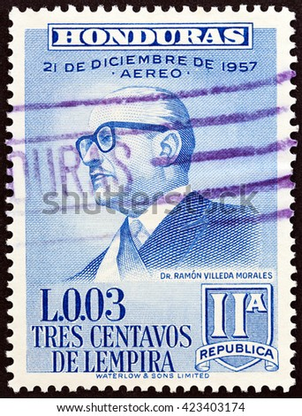 HONDURAS - CIRCA 1959: A stamp printed in Honduras issued for the 2nd Anniversary of New Constitution shows President Ramon Villeda Morales, circa 1959.  - stock photo