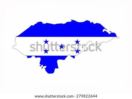 honduras country flag map shape national symbol - stock photo