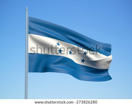 Honduras 3d flag floating in the wind with a blue sky background