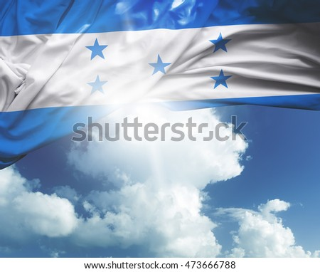 Honduras flag on a beautiful day