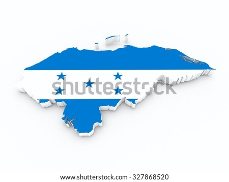 honduras flag on 3d map