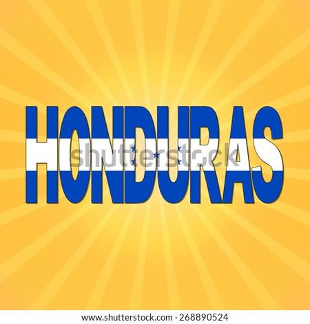 Honduras flag text with sunburst illustration - stock photo