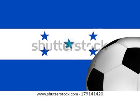 Honduras Flag with a Soccer Ball in the Foreground  - stock photo