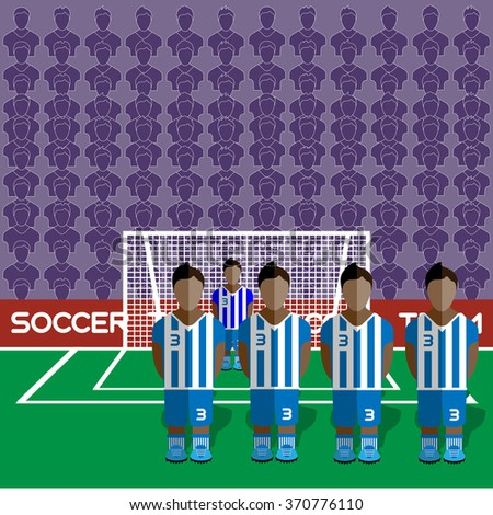 Honduras Football Club Soccer Players Silhouettes. Computer game Soccer team players big set. Sports infographic. Football Teams in Flat Style. Goalkeeper Standing in a Goal. Raster illustration. - stock photo