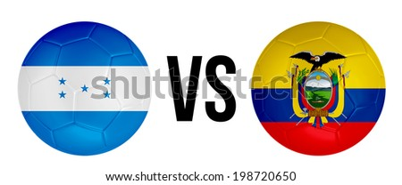Honduras VS Ecuador soccer ball concept isolated on white background - stock photo