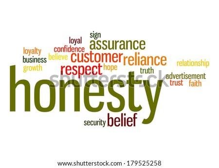 Honesty word cloud - stock photo