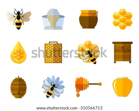 Honey and bee icons in flat set. Food sweet, insect and cell, honeycomb and beeswax, comb and pot illustration