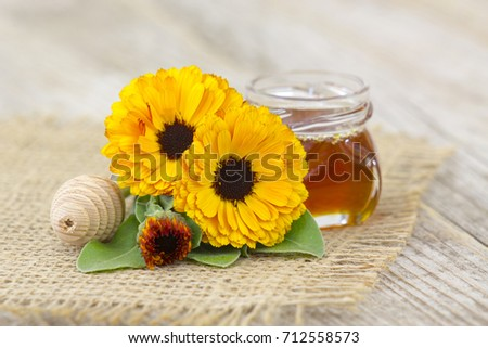 honey and calendula flowers