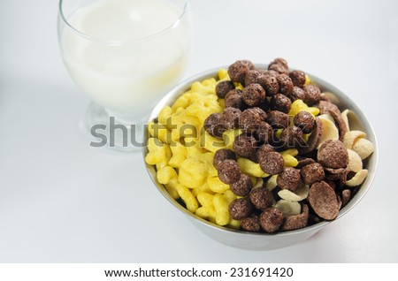 honey and chocolate cereal with milk