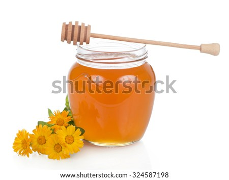 honey and marigold flowers on a white background - stock photo