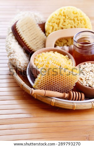honey and spa treatment - beauty treatment - stock photo