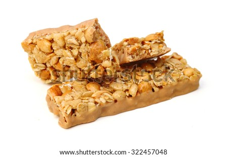 Honey bars with peanut on white background