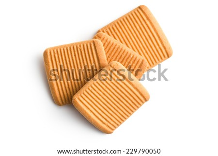 honey biscuits on white background