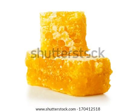 honey comb isolated on white background - stock photo