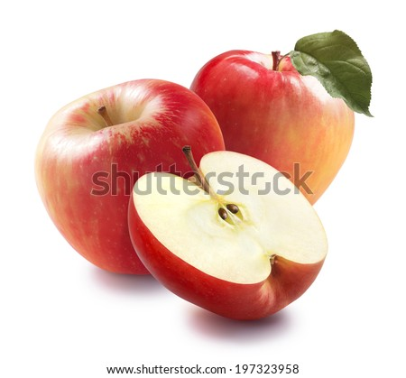 Honey crunch apples and half isolated on white background for package design - stock photo