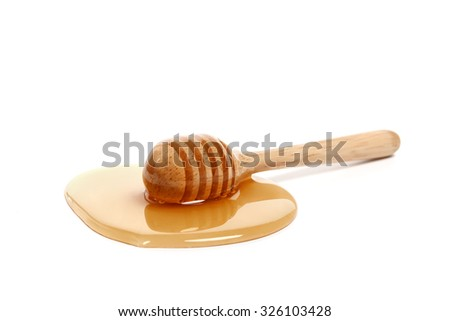 honey dipper delicious white background closeup sweet healthy closeup object golden dessert yummy freshness studio isolated  - stock photo