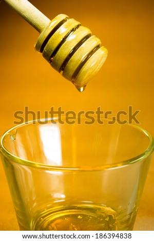 Honey Dipper Sweet Food Snack Spreader Bee Golden Nectar - stock photo