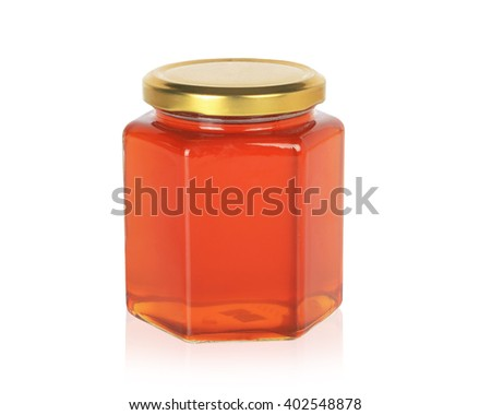 Honey from nature pollen flower  in glass bottle isolated on white background. This has clipping path. - stock photo