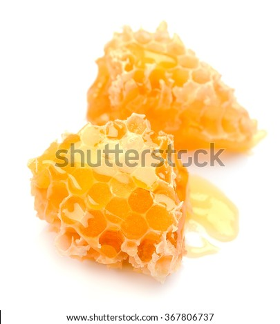 Honey honeycombs on the white background