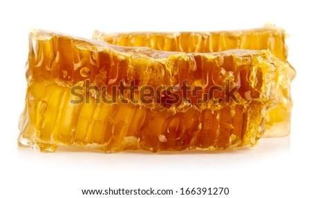 honey in honeycombs on a white background - stock photo