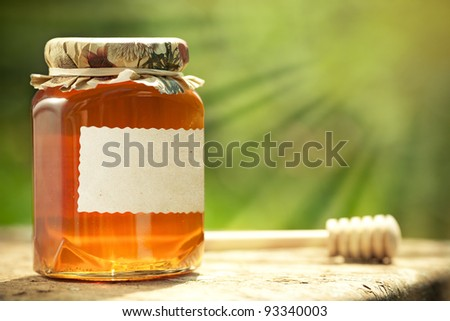 Honey jar with blank paper label and wooden stick on table against green spring natural background - stock photo