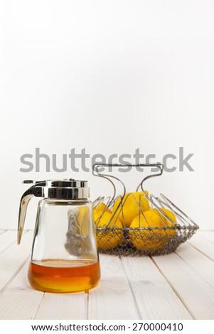 honey on glass jar - stock photo